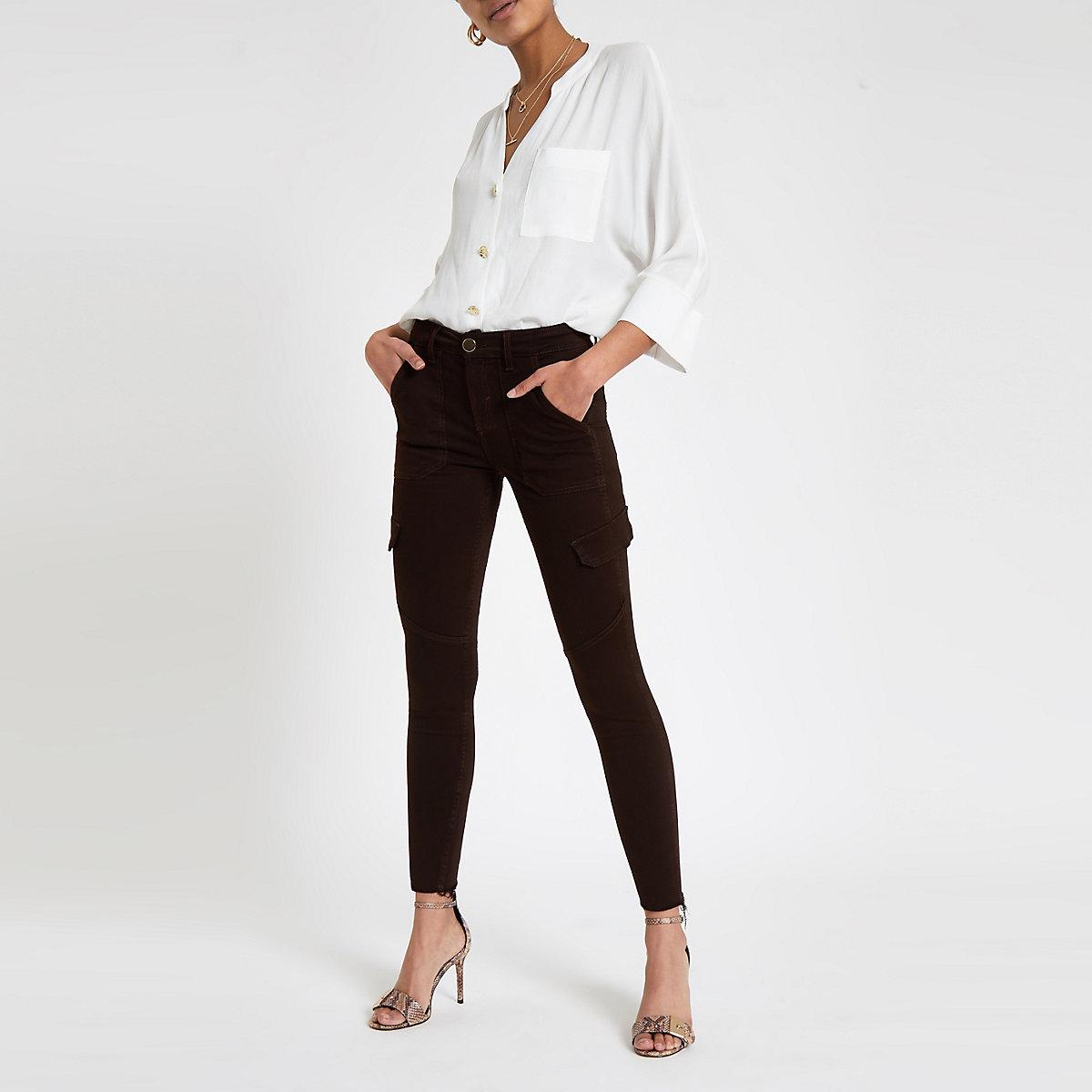 Brown Amelie utility skinny jeans