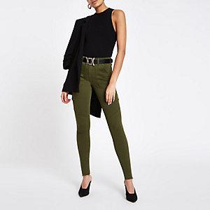 Amelie - Kaki skinny utility jeans