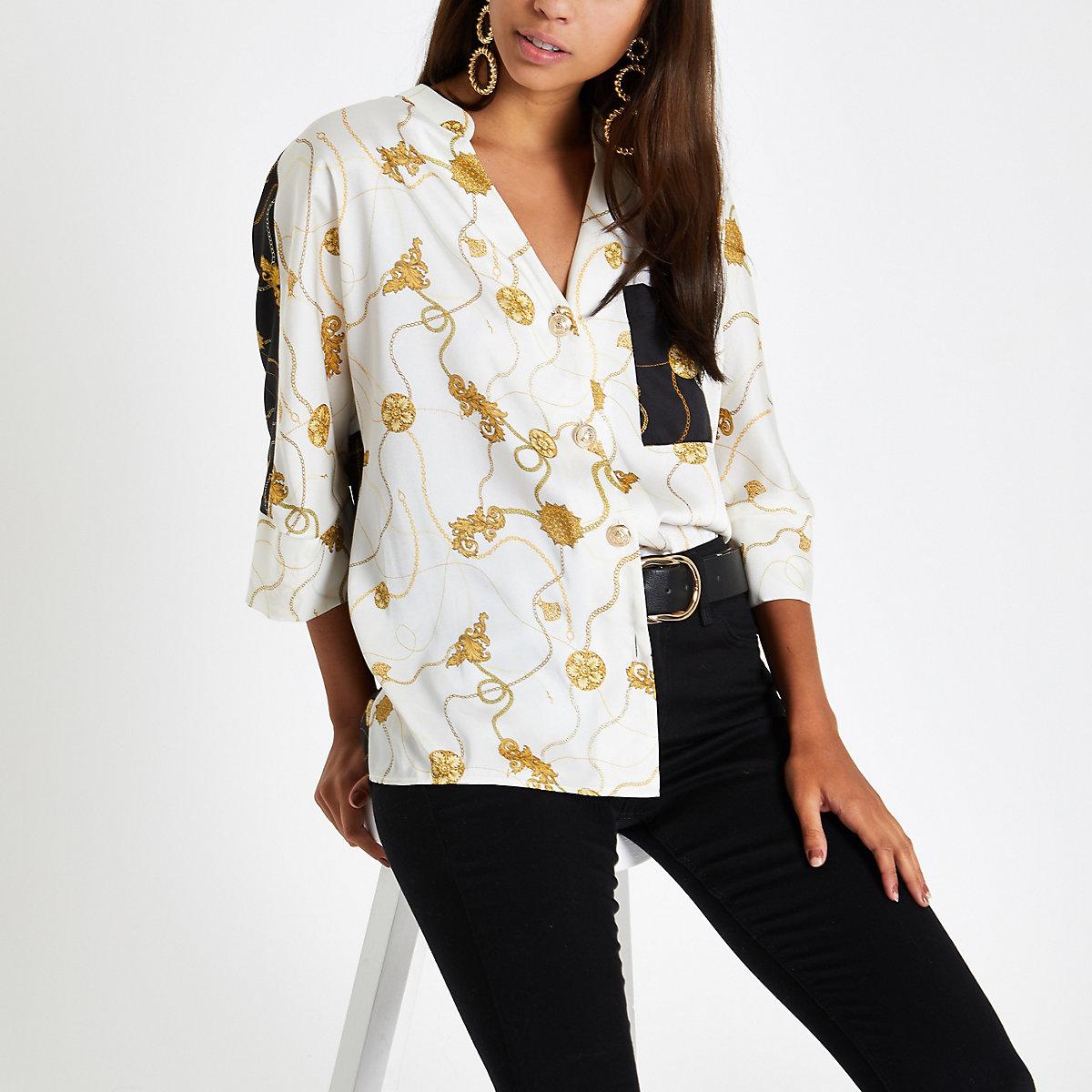 Cream chain print button front blouse