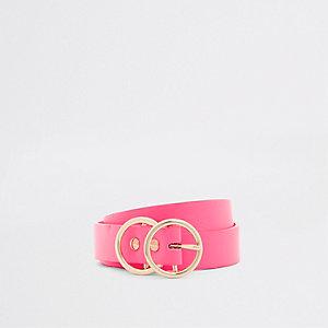 Neonroze mini-jeansriem met dubbele ring