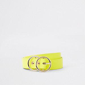 Neongele mini-jeansriem met dubbele ring