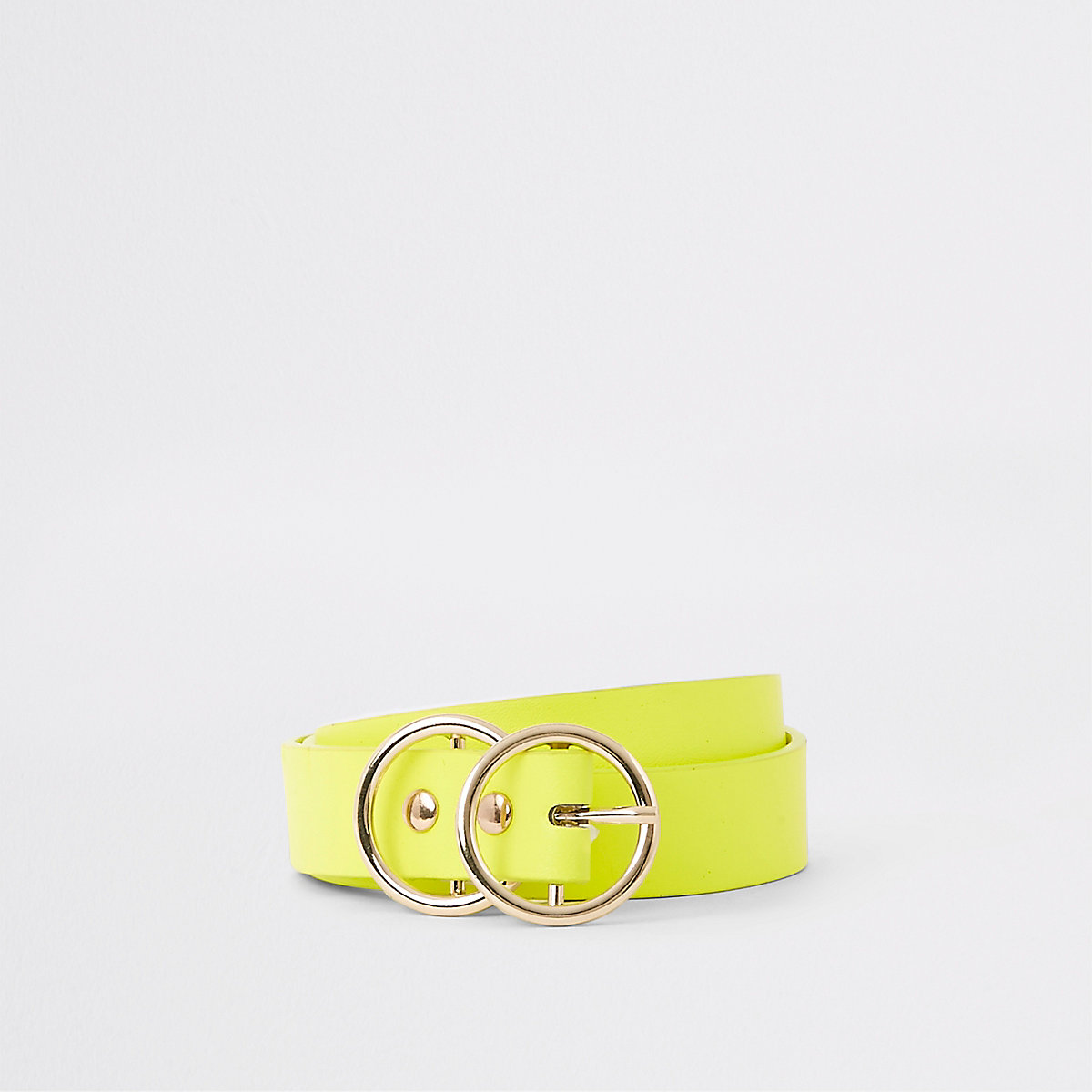 Neon yellow double ring mini jeans belt