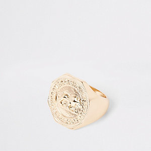 Gold tone hexagon coin ring