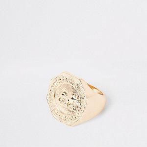 Gold color hexagon coin ring