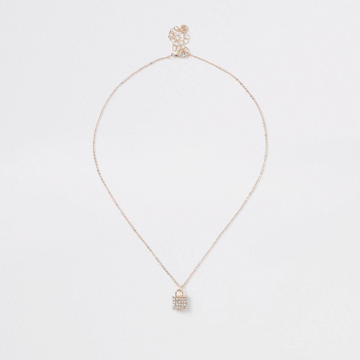 Gold tone diamante paved padlock necklace