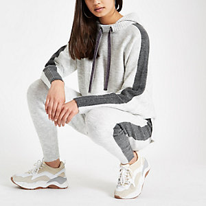 Grey long sleeve knitted hoodie
