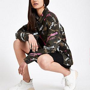Khaki camo word print army jacket