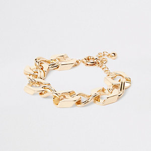 Gold tone chunky biker chain bracelet