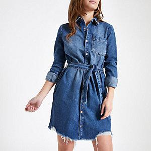 Petite – Blaues Blusenkleid aus Jeansstoff