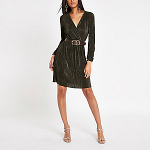 Dark green plisse wrap front mini dress