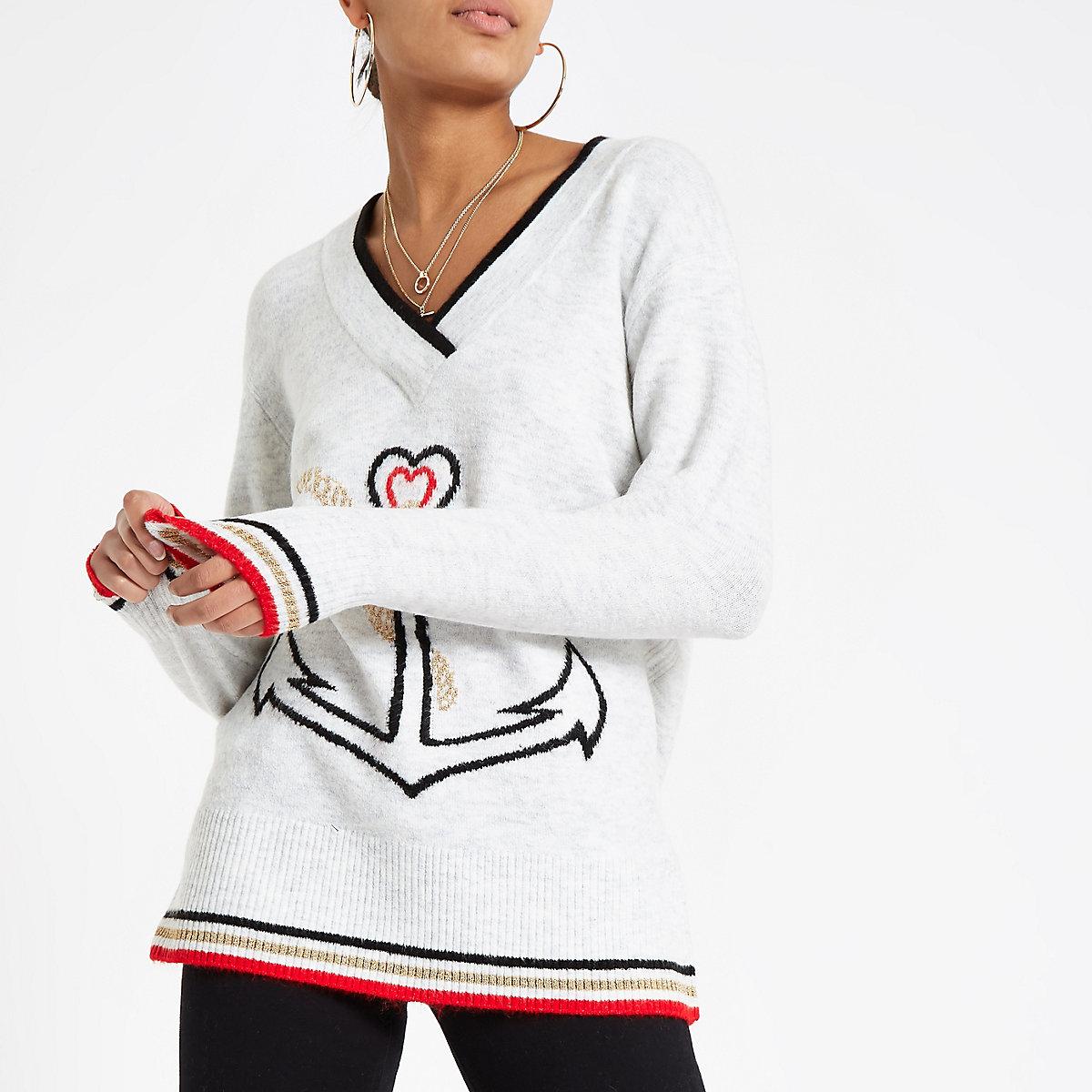Grey V neck anchor knit jumper