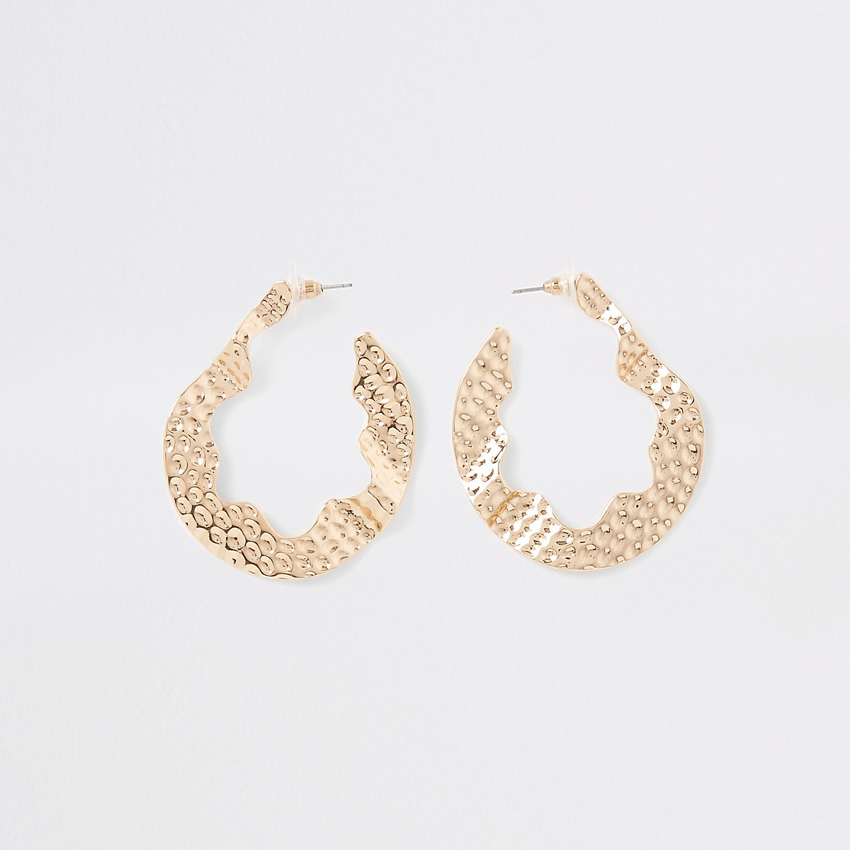 Gold color battered hoop earrings
