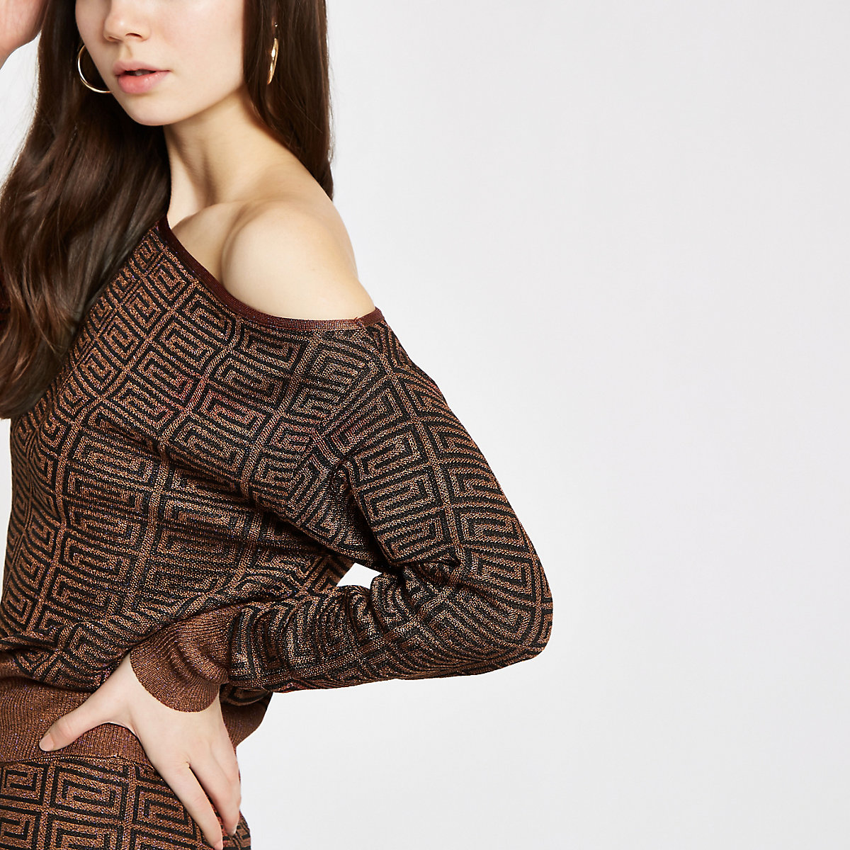 Brown geo print asymmetric jumper