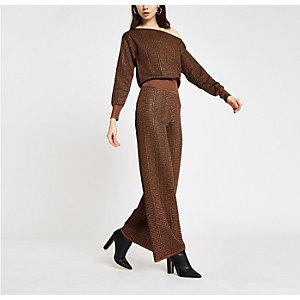 Pantalon large à imprimé géométrique marron