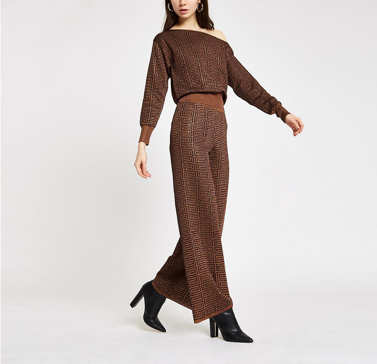 Brown geo print wide leg trousers