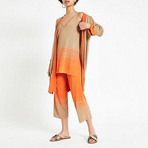 Jupe-culotte marron clair avec dégradé