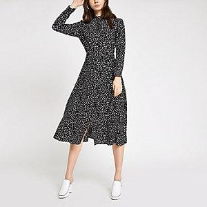 Black spot high neck midi dress