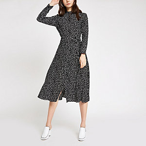 Black spot high neck midi dress