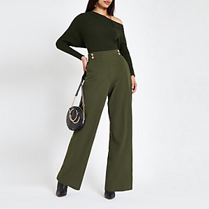 Khaki double button wide leg pull on trousers