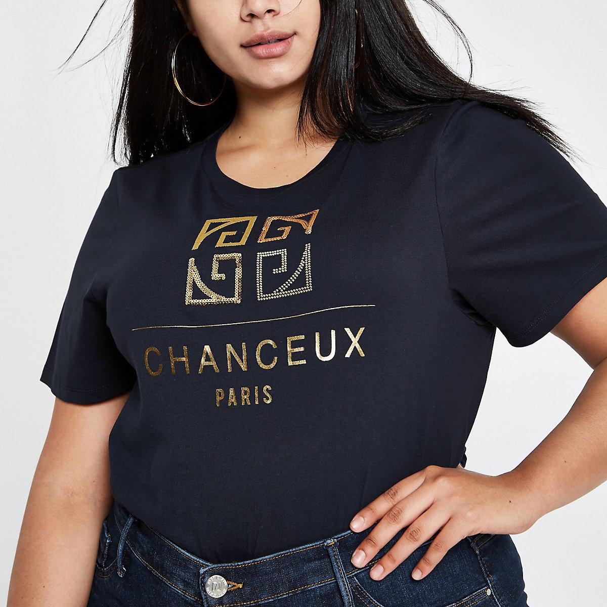 Plus navy 'Chanceux' print T-shirt