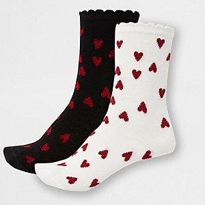 Lot de 2 paires de socquettes motif cœur noires et blanches