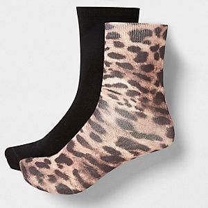 Braune Sneakersocken mit Leoparden-Print, 2er-Pack