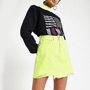 Neongelber Jeans-Minirock