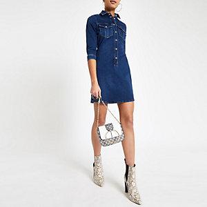 Dark blue fitted denim shirt dress