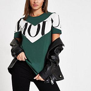 Groen T-shirt met 'Amour'-print en kleurvlakken