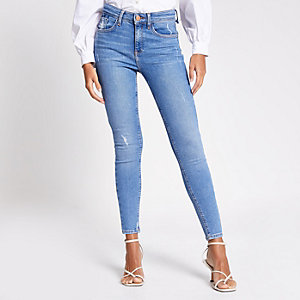 Mid blue Amelie skinny jeans
