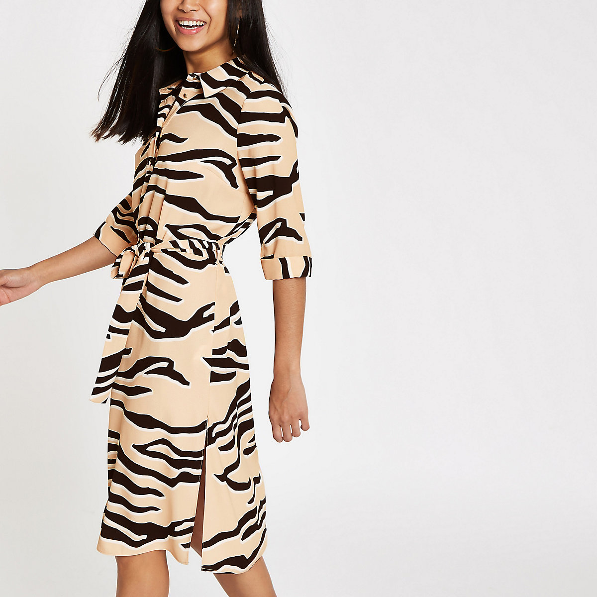 Petite beige tiger print shirt dress