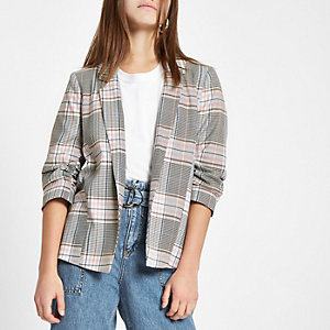 Petite pink check ruched sleeve blazer