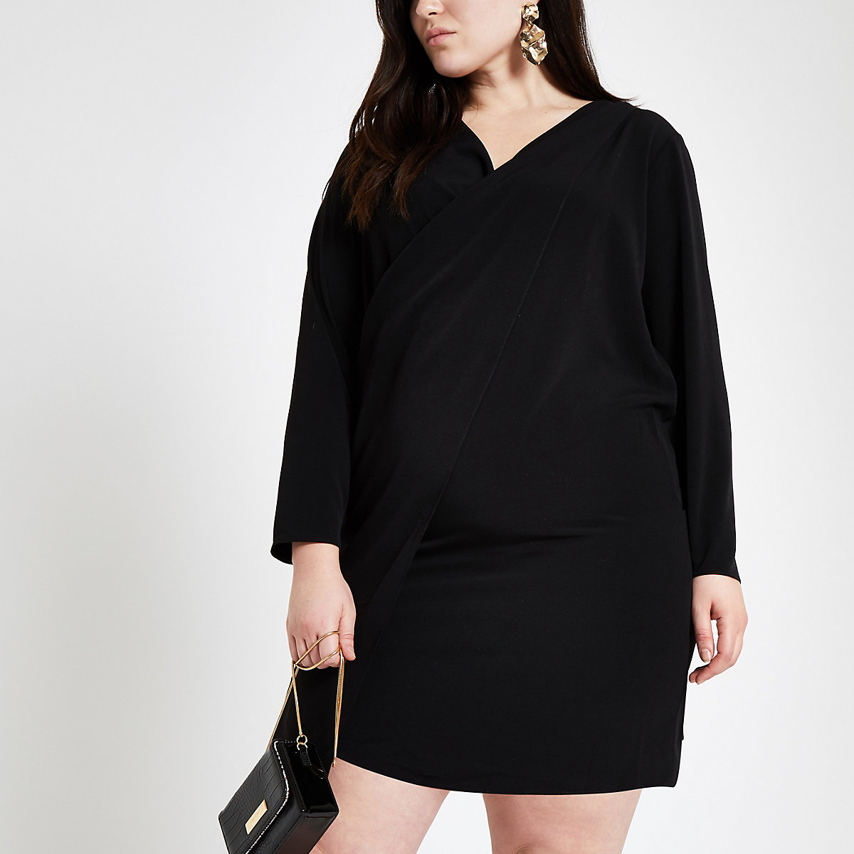Plus black wrap front dress