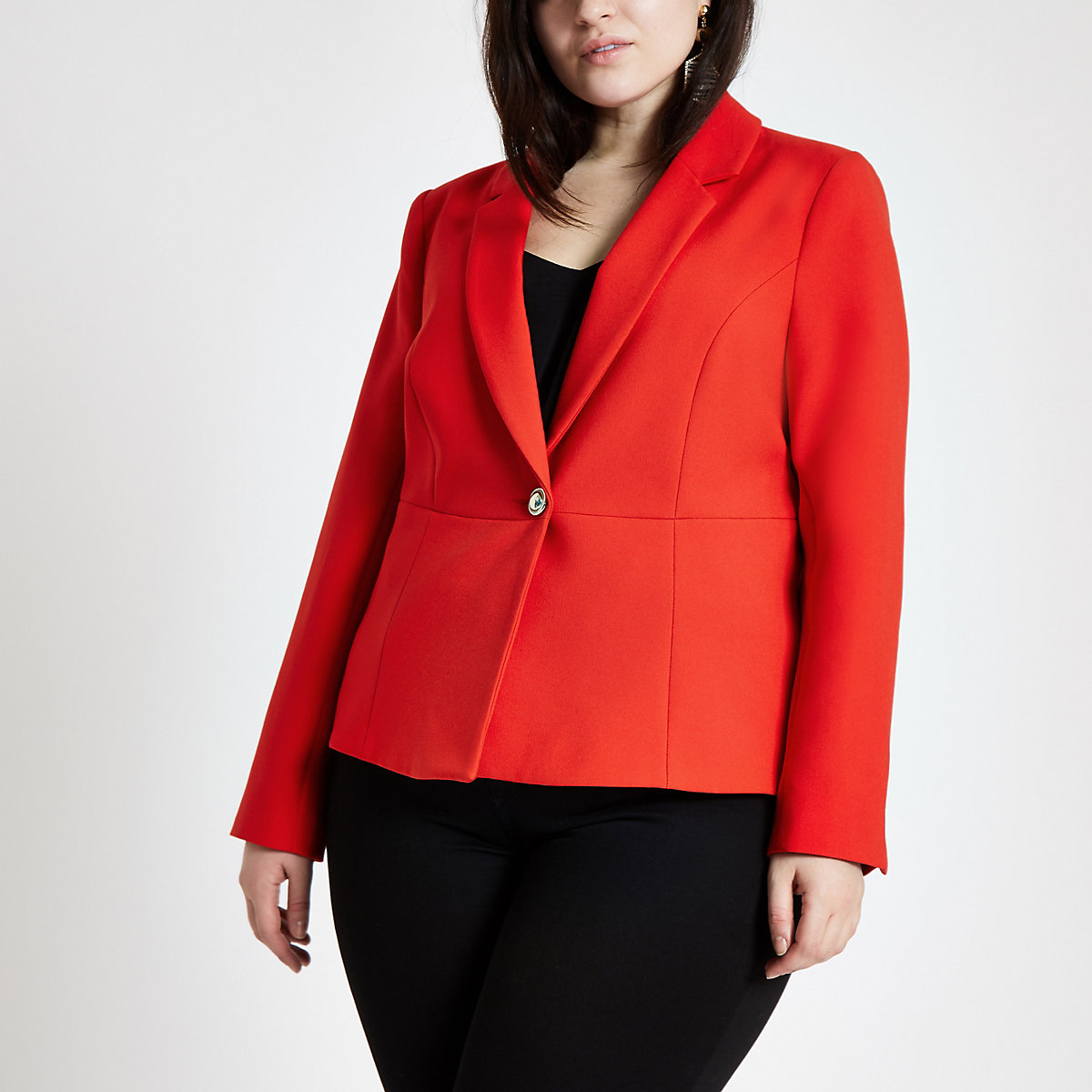 Plus red long sleeve blazer