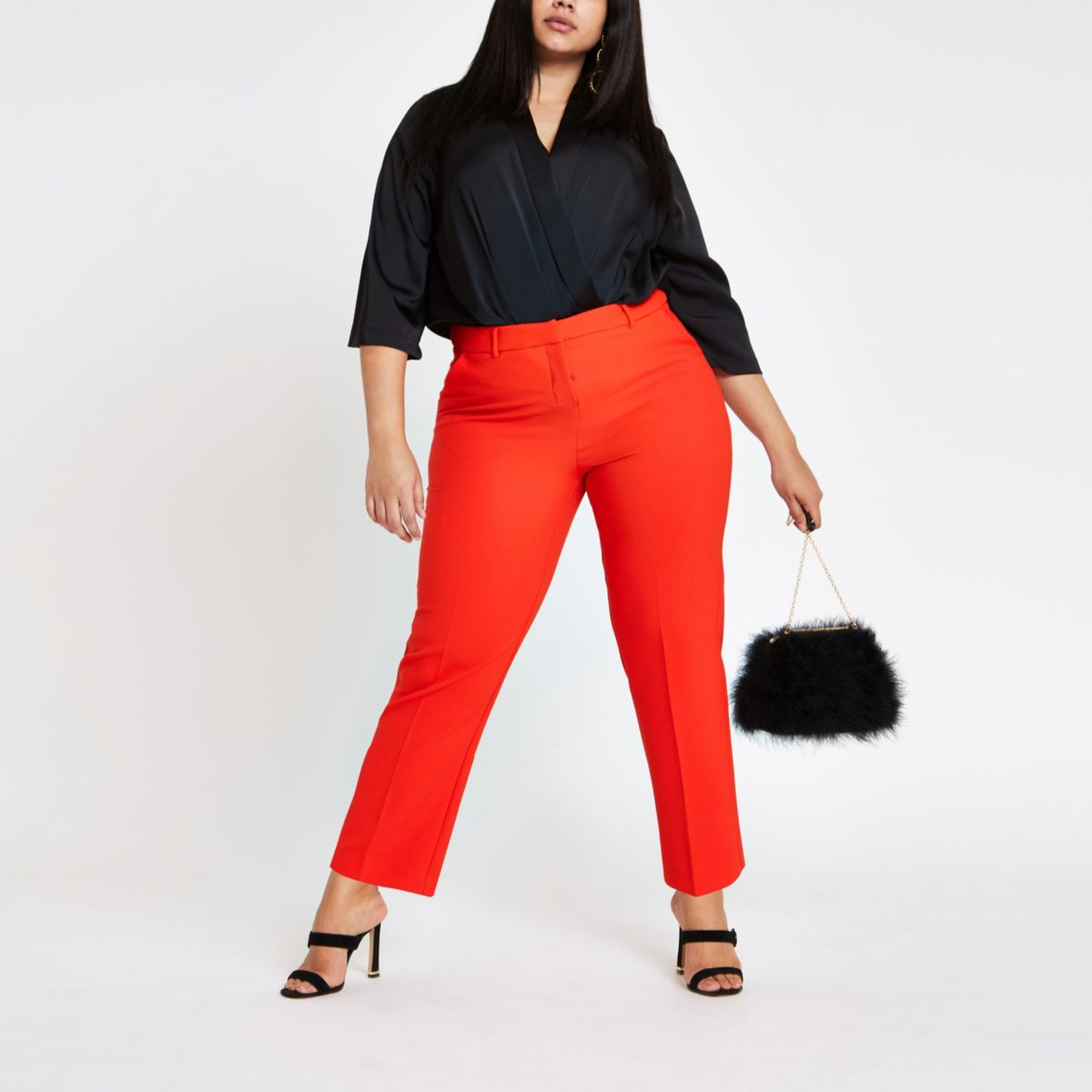 Plus red cigarette pants