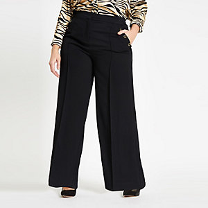 Plus black button wide leg trousers