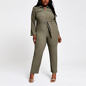 Plus khaki utility jumpsuit