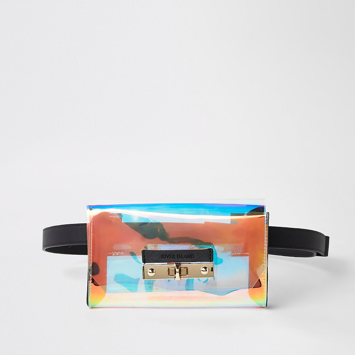 Silver holographic perspex belted bum bag