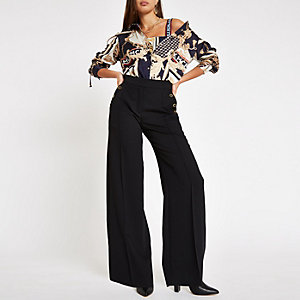 Black button wide leg pants