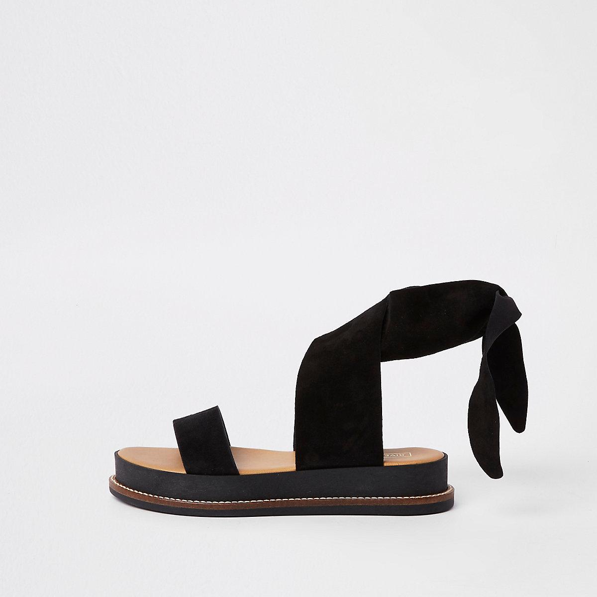 Black suede tie strap sandals