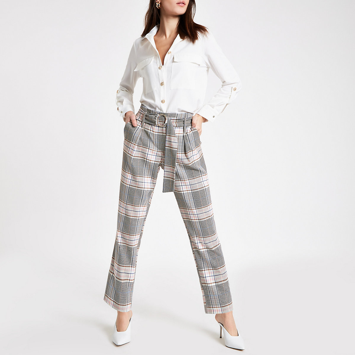 Pink check belted tapered trousers