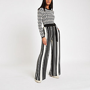 Black stripe D-ring wide leg pants