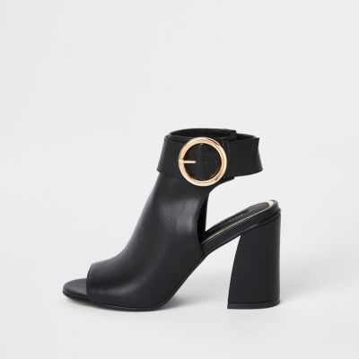 Black Buckle Strap Ankle Shoe Boots by River Island