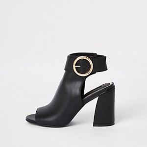 Black buckle strap ankle shoe boots c2d863891d