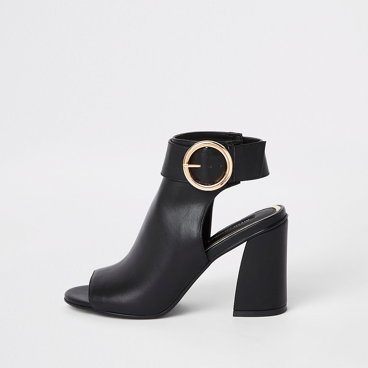 Black buckle strap ankle shoe boots