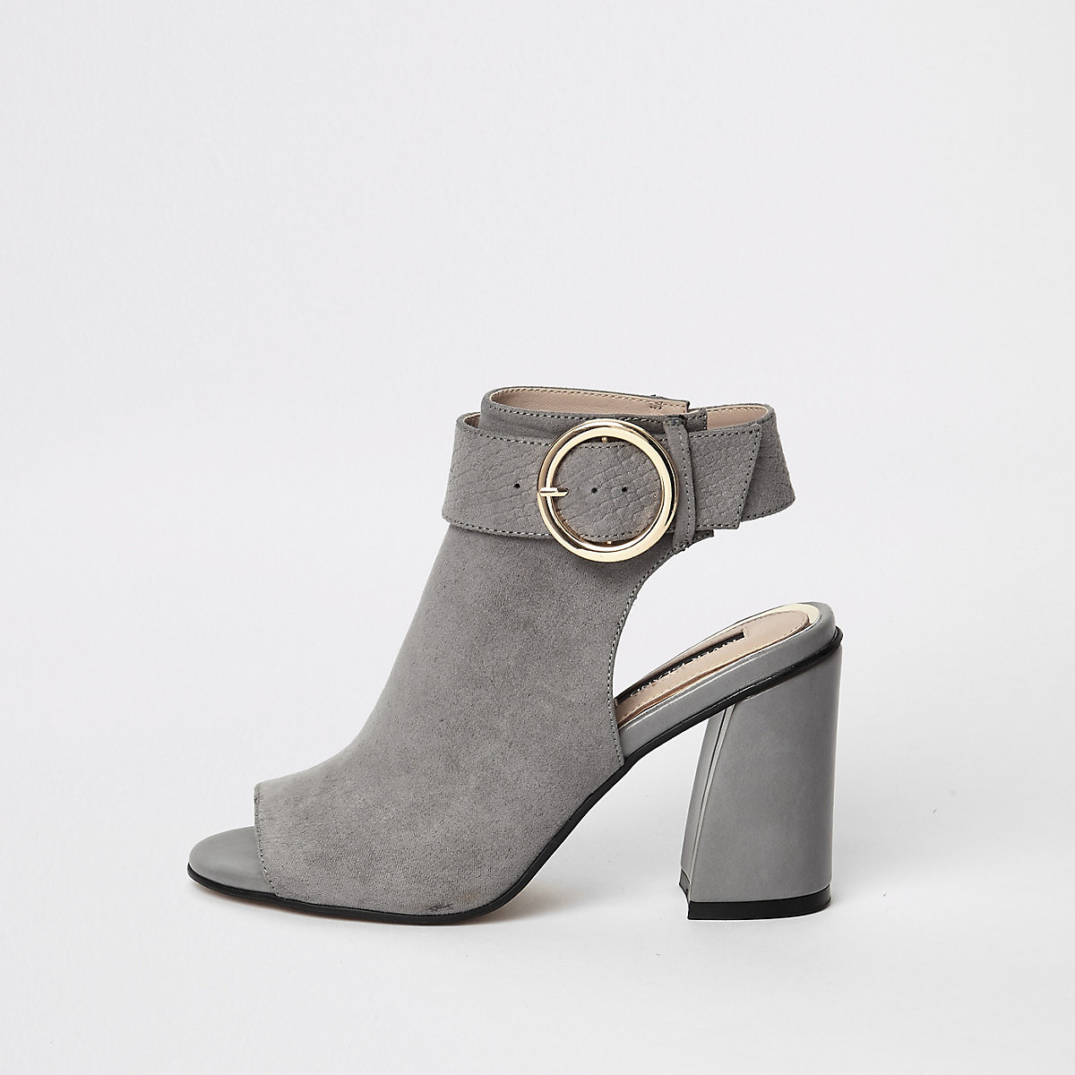 Grey buckle strap ankle shoe boots