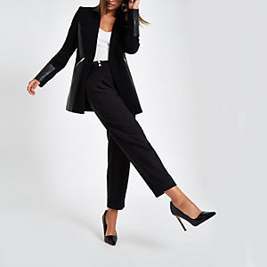 Black colour block blazer