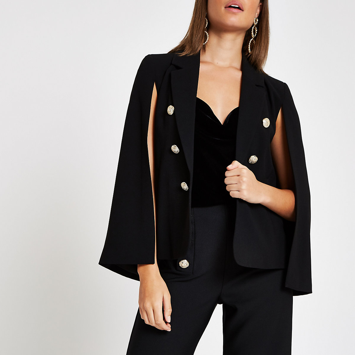 Black long sleeve cape jacket