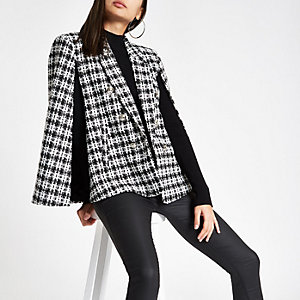Black check boucle cape jacket