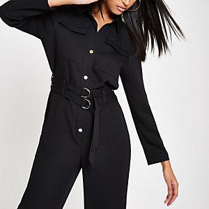 Zwarte boiler jumpsuit met ceintuur